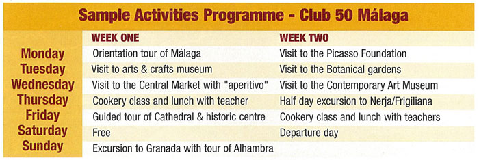 Club 50+ programme of activities/excursions